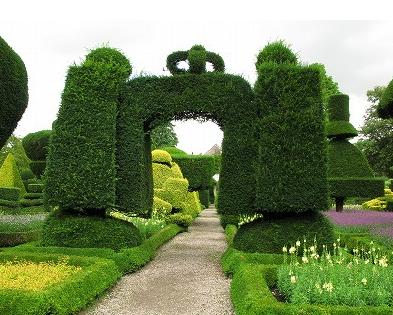 Topiary plants, entrance